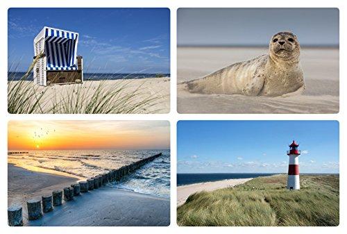 Bada Bing 4er Set Tischset Maritim Nordsee Meer Robbe Leuchtturm Strandkorb