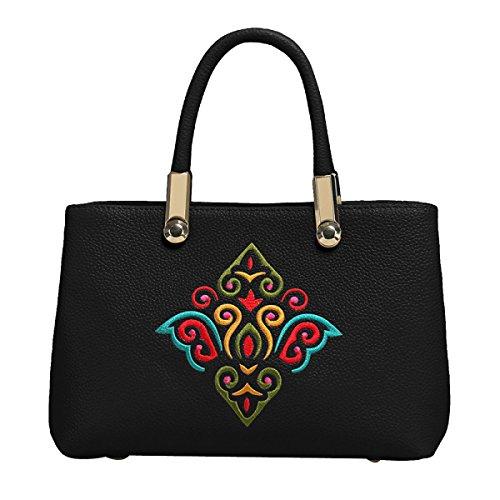 Mode Folk-custom Stickerei Lederhandtasche Umhängetasche Multicolor Black