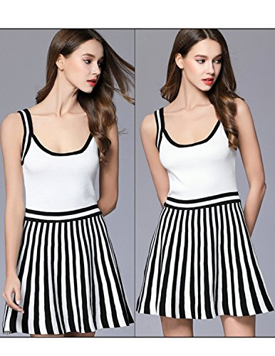 Modetrend Femmes Robe Bretelles Tunique Rayé Imprimé Sans Manches Casual Dress Sport Robe Blanc