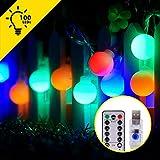 Tesecu 10M Guirlande Lumineuse USB 100 Ampoules LED 8 Modes avec Télécommande, RGB Idéal pour Éclairage de Noël, Balcon, Décoration Extérieure, Intérieur, Fête, Anniversaire etc.