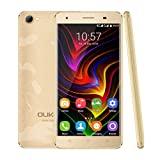 4G Smartphone Unlocked by YKS, C5Pro 5.0inch HD Android 6.0 Dual SIM Free Mobile Phone, 2GB RAM 16GB ROM and Support Micro SD card, MTK6737 Quad Core 1.3GHz, Dual Camera(5MP+2MP) 2000mAh battery, Supports Bluetooth 4.0 GPS and GLONASS, Gold