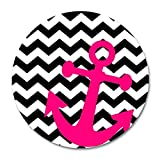 Navy Chevron with Anchor Customized Round Mouse Pad 9.8 X 11.8 inch