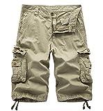 WSLCN Homme Coton Pantacourt de Travail Cargo Shorts Pantacourt Outdoor Vintage Bermudas Shorts Couleur Divers