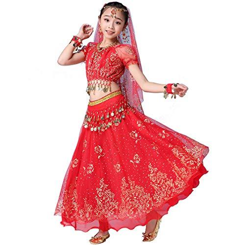 Kostüm Tanz Folk - Magogo Mädchen Bauchtanz Kleid Bollywood Indian Folk Kids Arabian Performance Kostüm Karneval Outfit (105-130cm/41-51in, Rot)