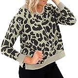 Lazzboy Damen Sweatshirt Leopard Druck Pullover Langarm Tops Bluse (Grün,40)