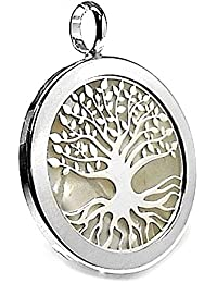 Colgante plata ley 925m árbol vida imitación nácar 30mm. [AB2691]