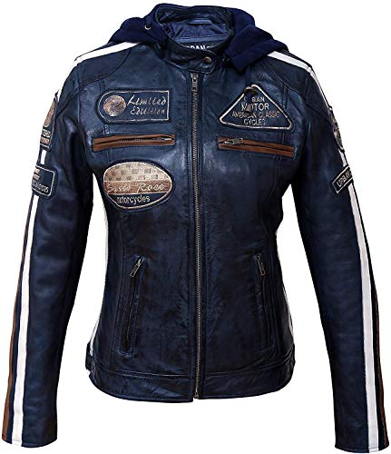 Damen Motorradjacke mit Protektoren, Schwarz, Große : 2XL