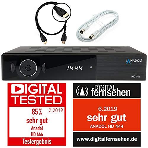 Anadol ADX HD 444 HDTV digital Satelliten Sat-Receiver (HDTV, DVB-S/S2, HDMI, 2X USB 2.0, FullHD 1080p, YouTube) [vorprogrammiert für Astra Hotbird Türksat ] inkl. HDMI Kabel + Satkabel 2.5m, schwarz