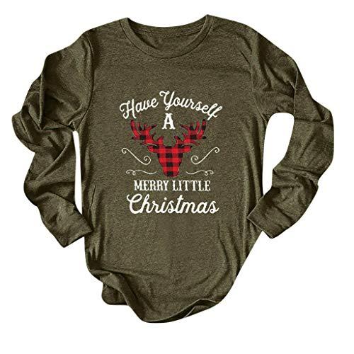 TEBAISE Weihnachtspullover Damen Weihnachtsbaum Rentiermuster Weihnachtsmotiv Drucken Rundkragen Xmas Pullover Weihnachten Langarm Sweatshirt 2019 Ugly Lustig Christmas Jumper Party Langarmshirt