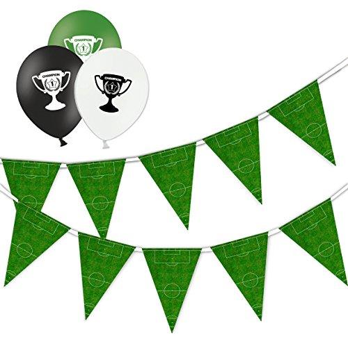 Partydeko-Set mit Fußballfeld, 15 Flaggen, Wimpelkette, Banner & 10 Verschiedene Bedruckte Latex-Luftballons, Champagner-Cup
