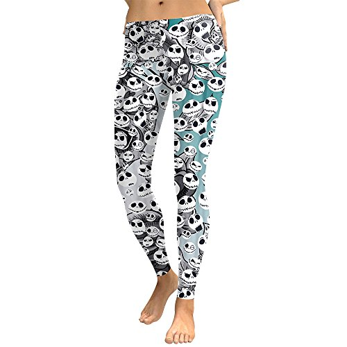 DioKlen Leggings para mujer, diseño de calavera, con estampado 3D de camuflaje, leggins de fitness, pantalones elásticos, pantalones y legins [KDK1742 L]