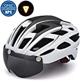 VICTGOAL Bicycle Helmet for Men Women with Safety Led Back Light Detachable Magnetic Goggles Visor Mountain & Road Bike Helmets Adjustable Size Adult Cycling Helmets