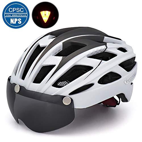 Victgoal Fahrradhelm Herren Damen Erwachsene Fahrrad Zyklus Helm Magnetischer Visier-Schutzbrille mit LED-Rücklicht 57-61 cm (White)