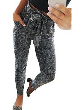 Nimpansa Mujeres Pantalones Cónico del Casaul Belted Bolsa Cintura Tobillo Sólido