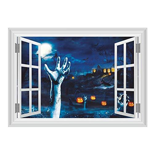 ARAYACY 3D Horror Blut Hand Kürbis Kopf Wandaufkleber/Fenster Halloween Wand Dekorative Wandaufkleber (Autos Schablonen Halloween-kürbis)