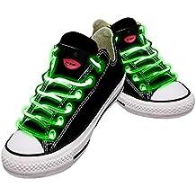 Cordones impermeables para zapatos con LED en diferentes colores: verde, rojo, amarillo, naranja, azul, rosa, amarillo/verde, azul/rosa, verde/rosa, multicolor Cordones festivos de calidad. verde