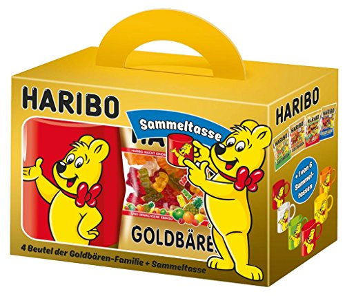 Preisvergleich Produktbild HARIBO Geschenkpackung - Sammeltasse + 4 Tüten Haribo (Goldbären,  Sauer Goldbären,  Saft-Goldbären,  Fan-Edition)