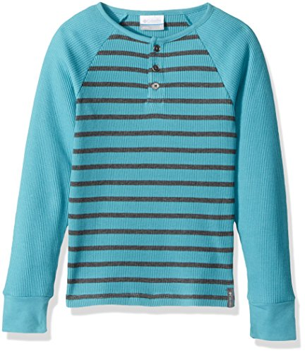Columbia Little Boys' Trulli Trails Thermal Henley, Pacific Rim Heather Stripe, X-Small (Shirt Pacific Knit)