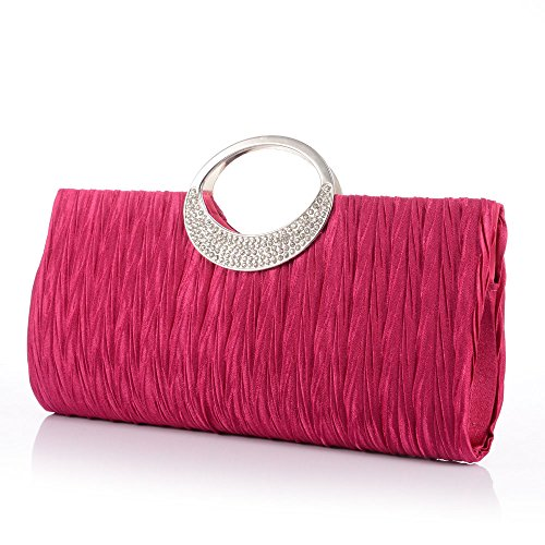 Sallyshiny-Borsa con strass, Evening Clutch Bag Bridal Wedding Party Bags-Borsetta (Rosso/rosa)