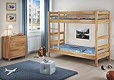 Erst-Holz® Etagenbett Stockbett Buche natur massiv 90x200 Hochbett mit 2 Rollroste 60.17-09