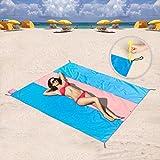 Tasca coperte, Compact coperta da picnic/spiaggia–XL extra large (210,8x 210,8cm) per 4–6persone con 6paletto (blu/rosa 190,5x 190,5cm), Blue/Pink 83 x 83 Inches