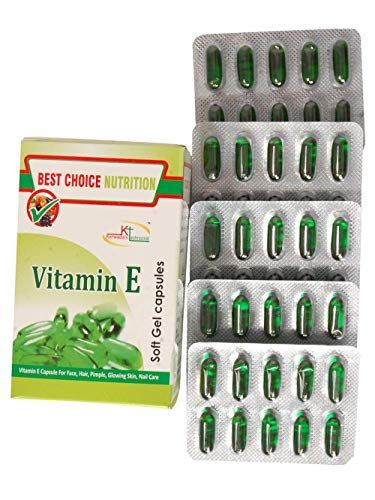 Best Choice Nutririon Vitamin E 400 Oil Capsule Face Hair Pimple Glowing Skin Nail Care - Pack of 50