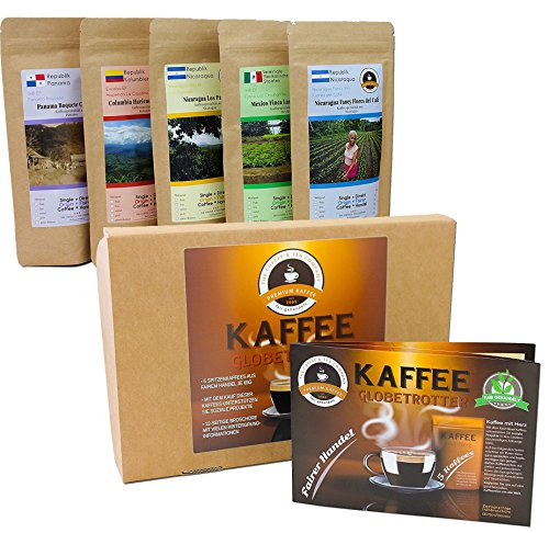 Kaffee Globetrotter - Kaffee Mit Herz Box - Ganze Bohne - für Kaffee-Vollautomat, - 5 Mal 100 g Fair Gehandelter Spitzenkaffee Unterstützt Soziale Projekte