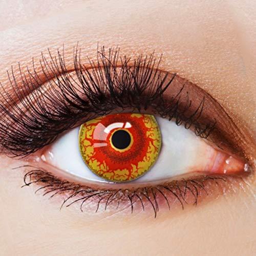Farbige Kontaktlinsen Rot Motivlinsen Ohne Stärke mit Motiv Rote Linsen Halloween Karneval Fasching Cosplay Kostüm Kiss of the Dragon
