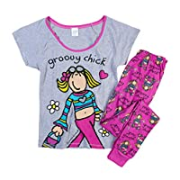 TDP Textiles Womens Hot Pink Groovy Chick Pyjamas