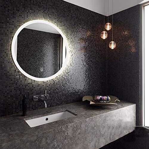 Espejo Redondo para baño con luz, Iluminado, montado en la Pared, Espejo de Maquillaje Inteligente de un Solo Toque, WC (tamaño 4)