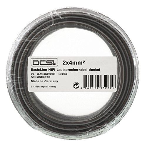 DCSk 50m - 2x4mm² Lautsprecherkabel schwarz | OFC Kupferkabel für HiFi/Audio | 99,99{9bc435d395229afd7e8c43399c6513a8bcdedbc6947f5ac43e8d2ab273283095} Kupfer Boxenkabel mit Isolierung