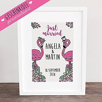 """Poster, Kunstdruck, Bild, Traumpaar, Flamingo, pink, Gastgeschenk, Hochzeit Geschenkidee Hochzeitsgeschenk, Deko: """"Just married!"""" PERSONALISIERT, ungerahmt"""