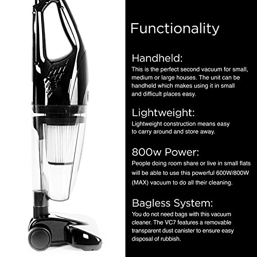 Duronic VC7 /BK HEPA Filter Bagless Upright Handheld Stick Vac Vacuum Cleaner – FREE 2 in 1 Crevice/Brush Tool and a FREE extra HEPA filter – Convert from Upright to Hand Held in Seconds!