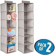 mDesign Organizador para colgar – Juego de 2 – Colgador de armario para ropa, toallas, jueguetes, organizador de accesorios – 6 estantes - Gris