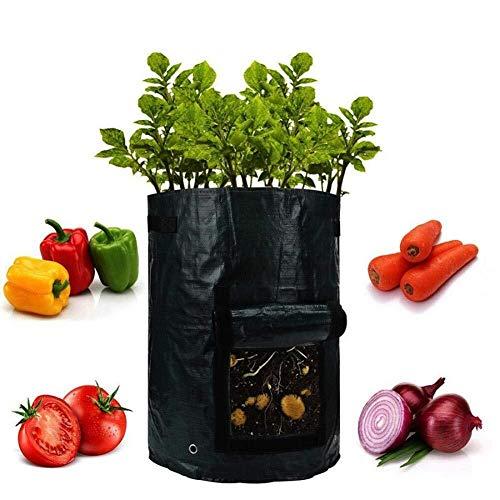 Ljlpropyh Recipientes para Plantas y Accesorio Bolsas de Cultivo de Papa de 10 galones, Bolsa de siembra de Verduras Bolsas de Maceta de Papa Bolsa de siembra, Negro (Color : 4 Pack)