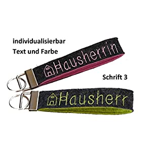 Schlüsselanhänger Text Name individuell Wollfilz