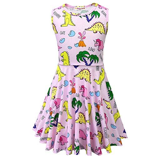 (Mitlfuny Damen Vintage Rockabilly Swing Kleider,Kleinkind-Kind-Baby-Karikatur-Dinosaurier-Buchstabe druckte beiläufige Kleid-Kleidung)