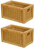 Stabiles Set / 2 Regalkorb mit Holzrahmen aus echtem Rattan / Schübe mit Griff 20x32x17cm - Versandkostenfrei in DE