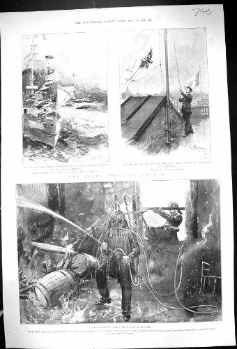 Una Stampa Antica dello Zar 1901 di Altona dell'Uniforme di Vestito dal Vigile Del Fuoco Francia Dunkerque Russia...