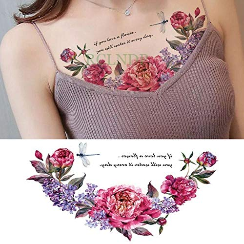 Handaxian 3pcsWaterproof Tattoo Aufkleber Clock Flower Tattoo Große Größe Tattoo Brust Taille Female Girl Tattoo