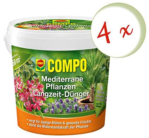 Oleanderhof® Sparset: 4 x COMPO Mediterrane Pflanzen Langzeit-Dünger, 1,5 kg + gratis Oleanderhof Flyer