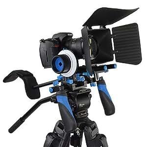 Kit Rig DSLR CamSmart - Support épaule - Suit le Focus de votre appareil- Matte Box pour appareil-photo DV appareils photo reflex, Canon 5D MK II, 7D, 60D, 600D (T3i), Nikon D90 D7000 D5100 D3100 D300s, Sony A65 A55, A33, A580, A560 , DSR PD198p, GH1, GH2, GH3