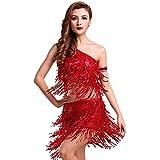 RichDeer Damen Latein Tanz Sequin Oberseiten + Quasten Pailletten Rock Kleider Sätze XL rot