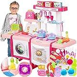 Kinderküche Spielküche Spielzeug Küche KP6030 mit Zubehör Zubehörteile Rosa Neu Küchenspielzeug SpielKüche mit...