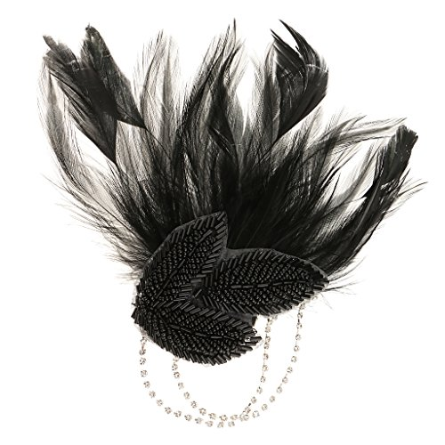 Baoblaze Schwarz Feder Brosche Nadel Haarclip Klammer Haarspange Damen Haarschmuck