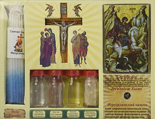 Jerusalem 7in One Heiligen Wasser, Erde, Öl, Kreuz, Weihrauch, Kerze & Icon Big Set aus dem Heiligen Land