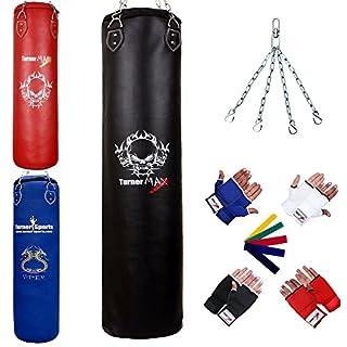 TurnerMAX Boxsack Boxen Muay Thai Ausbildung Kampfkünste Mit Innere Handschuhe und Stretch-Band 5ft (Schwarz)