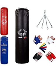 TurnerMAX Traditional Heavy Punching Bags Kickboxing Boxing MMA Muay Thai Home Gym Training Beginners Artificial Leather Inner Gloves Swivel Chain 50-80 lbs. 2ft 3ft 4ft 5ft – Red Blue Black