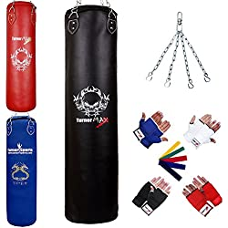 TurnerMAX Heavy Duty Boxing Punch Bag FILLED Rex Leather with Inner Gloves Chain MMA UFC (Black, 5 Feet)