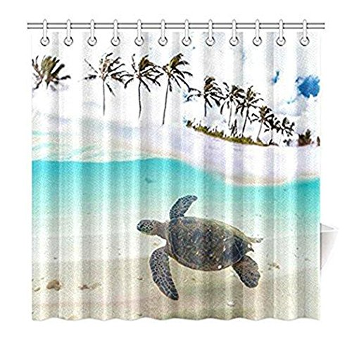 Palme für Home, Unterwasser Meer Schildkröte Stoff Duschvorhang Badezimmer-Sets mit Haken 182,9x 182,9cm, mit Haken Set ()